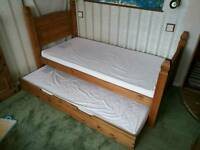 Single solid pine bed with an under bed + 1x memory foam mattress