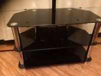 Three tier smoked glass and chrome TV stand