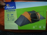 Aventura 4 Persons 2 Bedrooms Double Skin Tunnel Tent in Grey / Orange