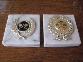 2 Marble Badminton Trophies - £5.00 each