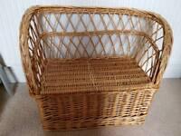 Wicker weave basket seat with storage for children