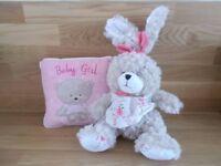 BABY GIRL CUSHION AND TEDDY BEAR.NEW