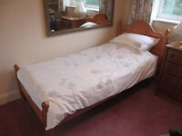 SINGLE PINEWOOD BED (3FT) FRAME WITH MATTRESS AND HEADBOARD