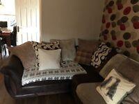 Corner sofa and foot stool