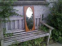 mid century teak framed mirror