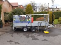 Ivor Williams 12ft x 5ft 6ins Flat Bed Trailer with Pressure washer and equipment