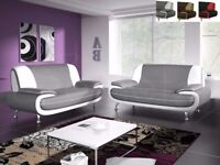 GET YOUR ORDER NEW CAROL FAUX LEATHER 3 + 2 SEATER SOFA SET IN GREY WHITE OR BLACK WHITE