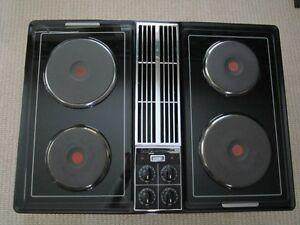 Jenn Air Black Downdraft Cooktop Solid Element Grill
