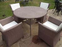 GARDEN TABLE AND 4 CHAIRS--WITH CUSHIONS --RATTAN --LARGE SIZE