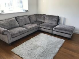 L shape corner Sofa, Grey crushed velvet