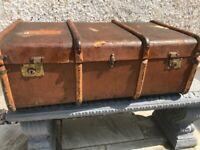 Vintage wood banded steamer trunk