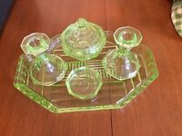 GREEN VINTAGE VANITY TRAY with contents