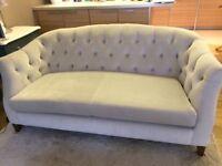 M&S Dove Grey Velvet Sofa