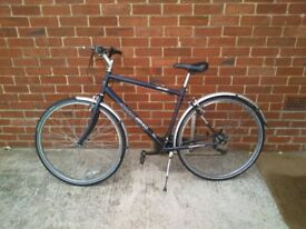 """Bicycle, Mans High Ride, Ammaco, Revo handle bar, easy changeing 18 gears with stand 21"""" frame."""