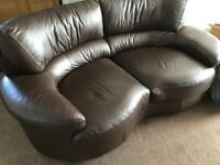 Brown leather 2 seater sofa and recliner chair