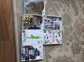 Wii, Wii fit board and 6 games