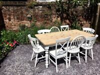 Solid Pine Farmhouse Dining table & 8 Chairs Courier available £600 Ono