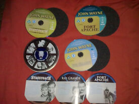 JOHN WAYNE WESTERNS 3 DVDS IN ROUND TIN & SPONGES& BOOKLET RIO GRANDE/STAGECOACH/FORT APACHE