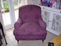 Laura Ashley 'Lynden' fixed back occasional armchair, a good upholstery project