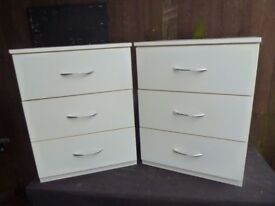 2 x White Bedroom Twin Drawer Set Chrome Handles Delivery Available £35