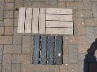 Hardwood interlocking paving slabs 1 ft square with plastic backing