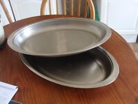 2 x Heavy Duty Large Serving Dish Stainless Steel Oval