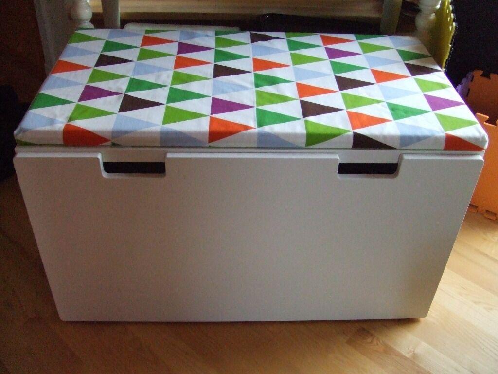 Ikea stuva storage bench white 65 unisex toy chest box for Large toy box ikea