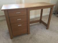 Oak Effect 3 Drawer Desk