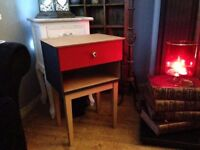 RETRO / VINTAGE UP-CYCLED SYMBOL BEDSIDE TABLE IN GLOSS RED AND LIQUORISH FREE LOCAL DELIVERY