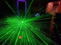 Wireless laser and smoke machine, DJ lasers, party lighting