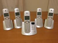 5 Philips CD445 telephones with answerphone