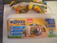 hozelock 15metre hose + multi-spray gun & multi-spray gun plus