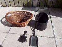 Fireplace set - Log basket, Coal Bucket, Brush and Shovel