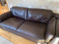 Reids Large 3 seater Chocolate Brown Italian Leather Sofa