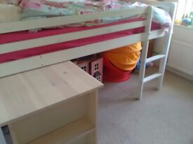 White/White Wash children's cabin bed with pull out desk