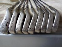 Titleist Iron DTR 4,5,6,7,8,9,S and Donnay P,Dunlop P + TaylorMade Bag
