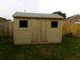 10x8ft apex wooden shed free on site erection