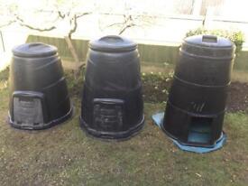 Three compost bins