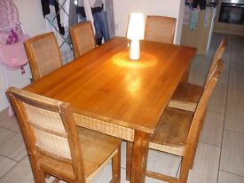 pine dinning room table with 6 chairs