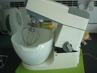 Kenwood Mixer with whisk and K beater and meat Mincer attachments