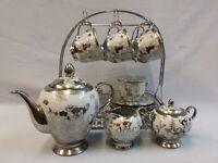 NEW 16PC PORCELAIN CHINA TEA SET,CUPS,TEA POT,SLIVER FLOWER DESIGN /DISPLAY STAND