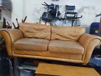 Tan Brown Real Leather Sofa Cooler than Chesterfield FREE MANCHESTER DELIVERY
