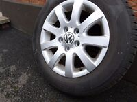 "Volkswagen Golf MK5 Alloy Wheel 15""x6.5J Good 6mm Tread Tyre"