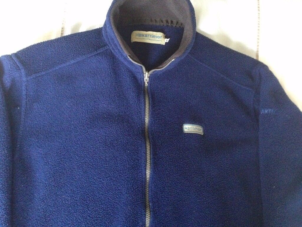 KARRIMOR POLARTEC MENS HIGH COLLAR FLEECE JACKET, BLUE, XL