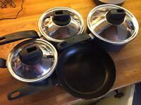 Tefal 3 pan and one frying pan set