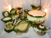 Vintage collection of selection green ceramic ware KH pottery ,(11 ps)