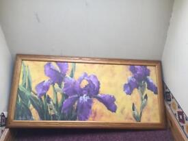Picture in frame purple flowers