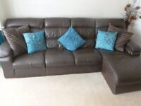 Corner Sofa, Chaise & Footstool (Large 6 piece modular set) Brown Real Leather