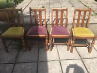 Solid aak dining room chairs (4) .