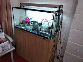 130 Liter Fish tank Aquarium Cabinet expensive Flourite substrate, lot of equipment. little used